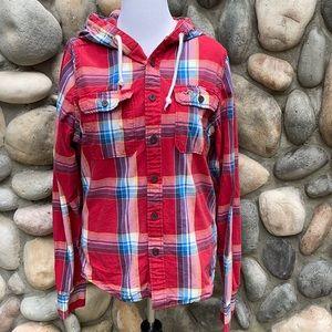 Hollister XL Plaid Long Sleeve Hooded Shirt